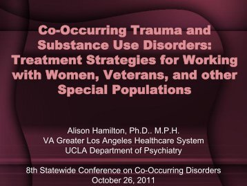 Treatment Strategies for Working with Women, Veterans, and other