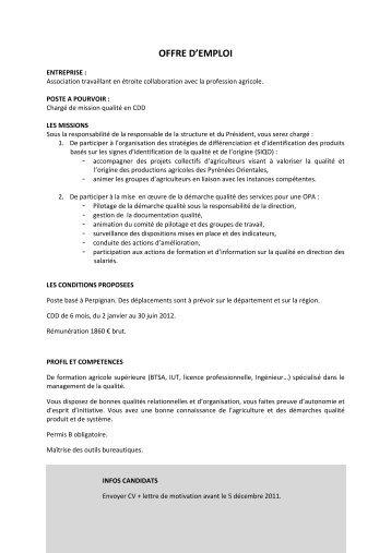 Fiche DInscription DUne Offre DEmploi  Chambre De Commerce Du