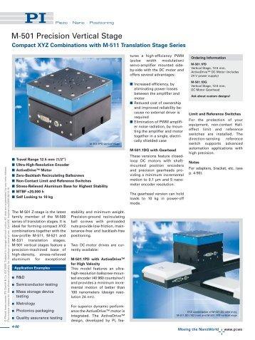 M-501 Precision Vertical Stage (PDF) - PZT & Piezo Actuators: Sub ...