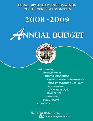 2008-2009 Annual Budget - Community Development Commission