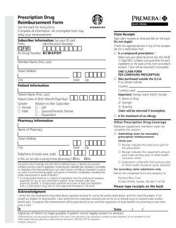 CFE Prescription Drug Reimbursement Form - Premera Blue Cross