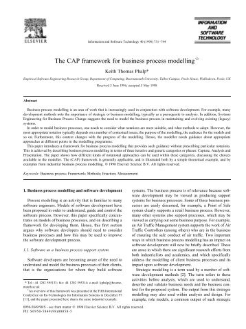 The CAP framework for business process modelling - School of ...