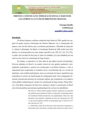 DIREITOS À COMUNICAÇÃO - XI Congresso Luso Afro Brasileiro ...