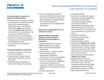 services requiring prior authorization - Premera Blue Cross