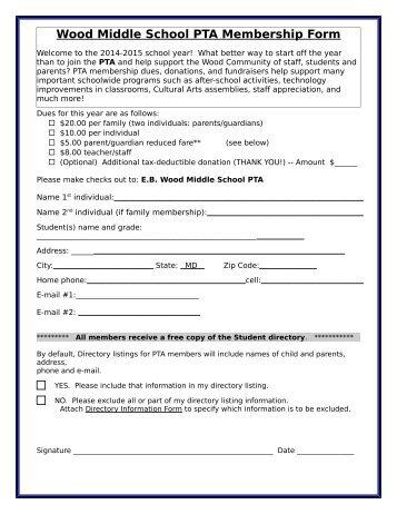 PLEASE JOIN - Earle B. Wood Middle School PTA