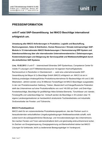 Pressetext MACO Beschlaege (pdf) - unit-IT