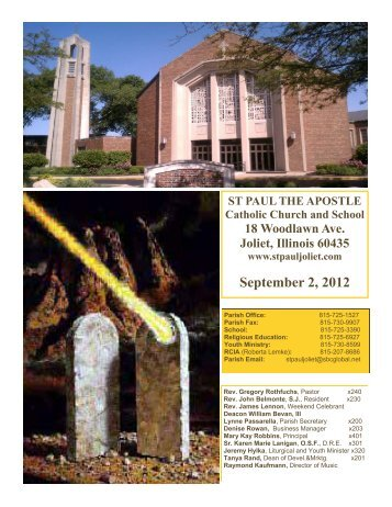 September 2, 2012 - St. Paul the Apostle Church - Diocese of Joliet