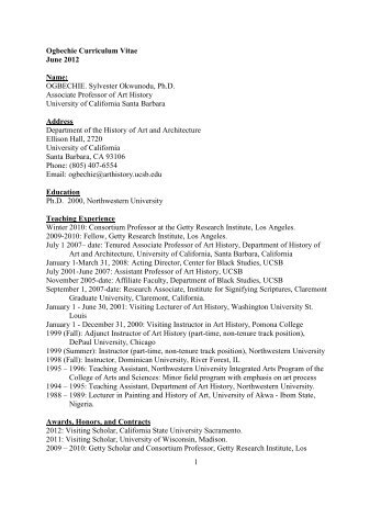 Curriculum Vitae - Department of History of Art and Architecture