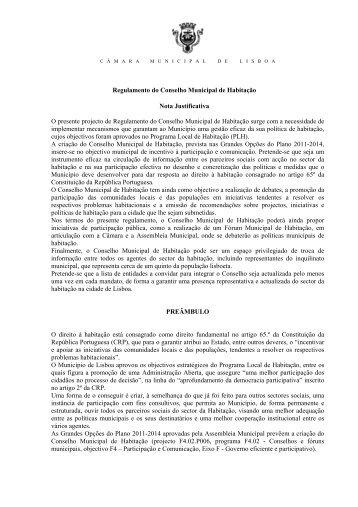 Regulamento do Conselho Municipal de Habitação Nota ...
