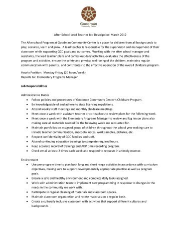 Job Description  Career Technical Teacher  Woodridge Local Schools