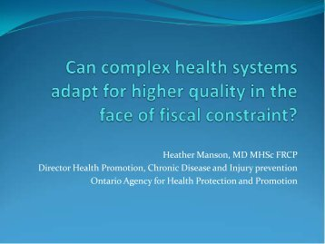 Can complex health systems adapt for higher quality in the face of ...