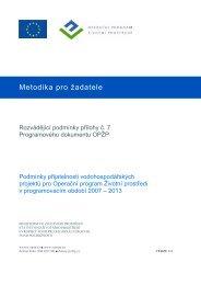 Metodika pro žadatele - Operační program Životní prostředí