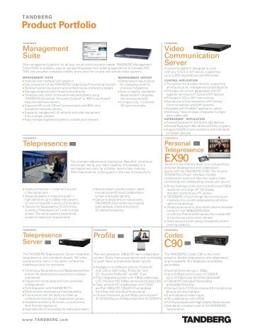 TANDBERG Product Portfolio - 1 PC Network Inc