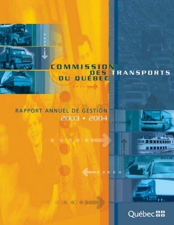 Le rapport annuel 2003-2004 - Commission des transports du Québec