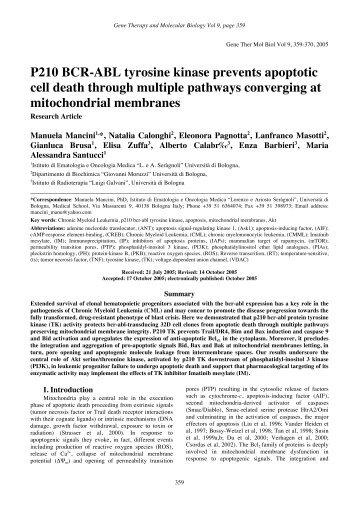 P210 BCR-ABL tyrosine kinase prevents apoptotic cell death ...