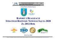 Raport z realizacji Strategii Rozwoju NS 2012 - Nowy Sącz