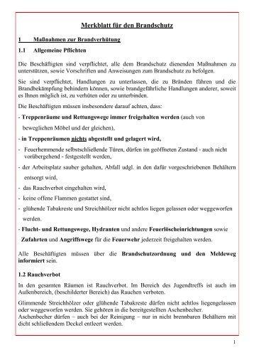 Merkblatt für den Brandschutz - Fortuna Kulturfabrik