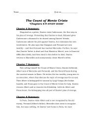 The Count of Monte Cristo *Chapters 6-9 STUDY GUIDE