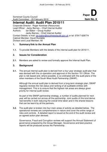 Internal Audit: Audit Plan 2010/11 - Somerset County Council