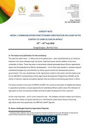 CONCEPT NOTE MEDIA / COMMUNICATIONS ... - CAADP