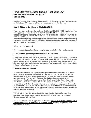 COE and Visa Application Instructions - Temple University Beasley ...