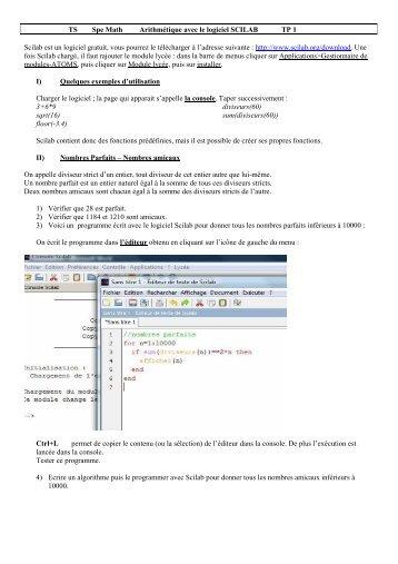 TS Spe Math Arithmétique avec le logiciel ... - IREM de Rennes