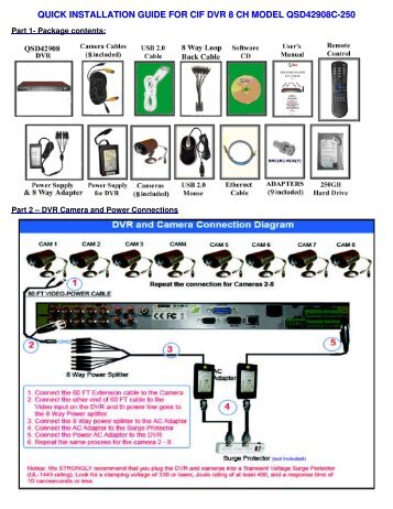quick installation guide for cif dvr 8 ch model qsd42908c-250 - Q-See