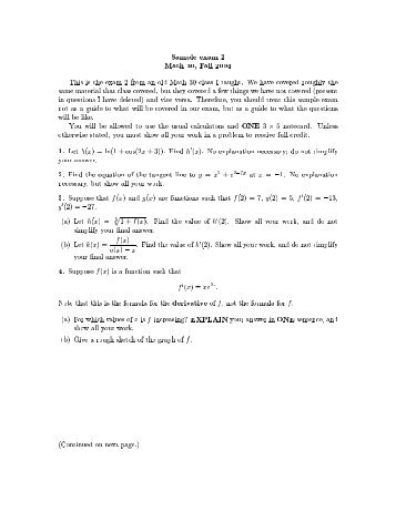 Sample exam 2 Math 30, Fall 2004 This is the exam 2 from an old ...