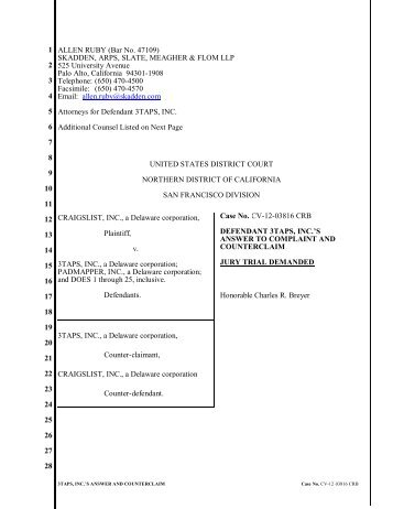 3TAPS, INC.'S ANSWER AND COUNTERCLAIM Case No. CV-12 ...