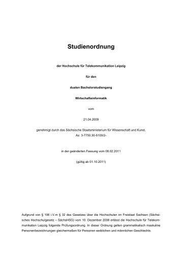 Studienordnung - Hochschule für Telekommunikation Leipzig