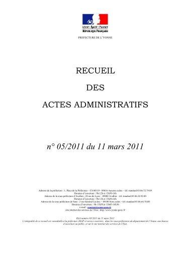Recueil n°5 du 11 mars 2011 - 0,32 Mb - Préfecture de l'Yonne