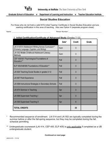 Advanced Certificate of Study (Initial Certification) - UB Graduate ...
