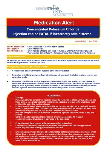 Potassium chloride injection alert - Hqsc.govt.nz
