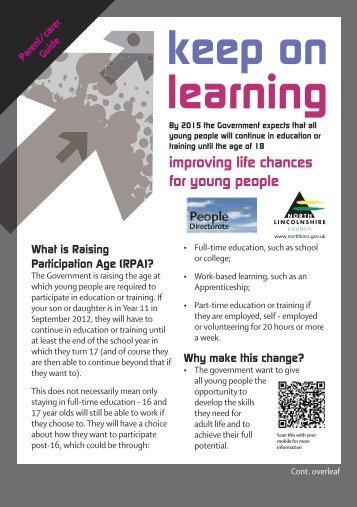 Raising Participation Age - South Axholme