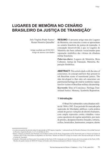 lugares de memória no cenário brasileiro da justiça - Reid.org.br