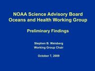 Science Advisory Board Ocean Health Working Group Overview