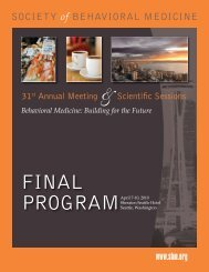 FINAL PROGRAM - Society of Behavioral Medicine