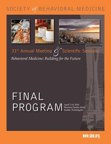 FINAL PROGRAM - Society of Behavioral Medicine