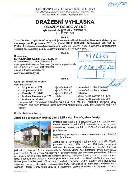 DRAŽEBNÍ VYHLÁŠKA - Praha 18 Letňany