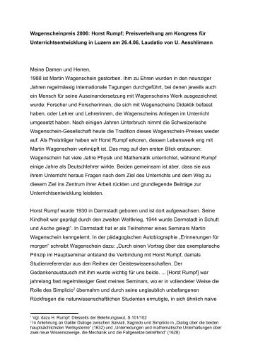 Laudatio zur Verleihung des Martin-Wagenschein-Preises der ...
