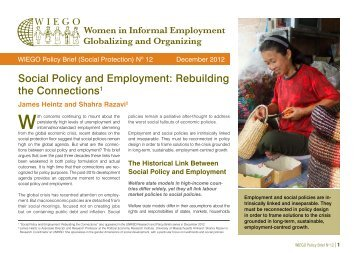 Social Policy and Employment: Rebuilding the ... - Inclusive Cities