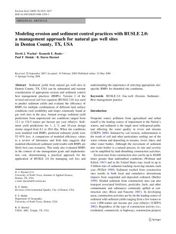 Modeling erosion and sediment control practices with RUSLE 2.0: a ...