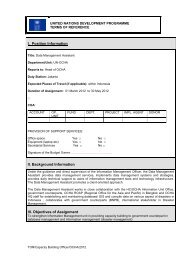 I. Position Information II. Background Information III ... - UNDP