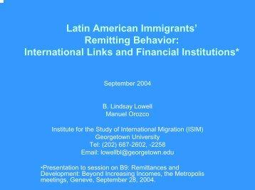 Latin American Immigrants' Remitting Behavior ... - COMPAS