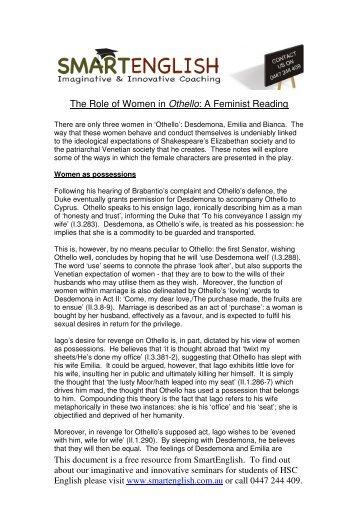 Othello/ Othello - Treatment of Women term paper 15571