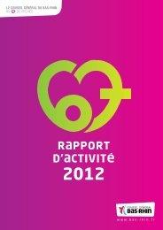 Rapport d'activité 2012 - Conseil Général du Bas-Rhin