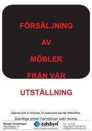 Försäljning Arb.platser från Utställning Borås - Edsbyn Inredningar