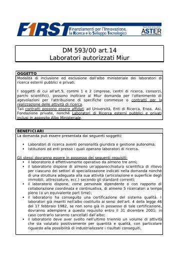 DM 593/00 art.14 Laboratori autorizzati Miur - First - Aster