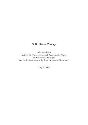 Solid State Theory - Institut für Theoretische und Angewandte Physik ...
