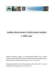Analiza skuteczności i efektywności szkoleń w 2009 roku